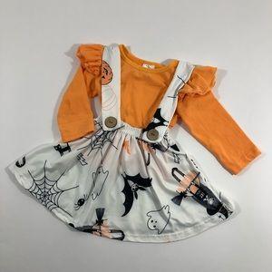 Boutique Halloween print suspender skirt 2pc set